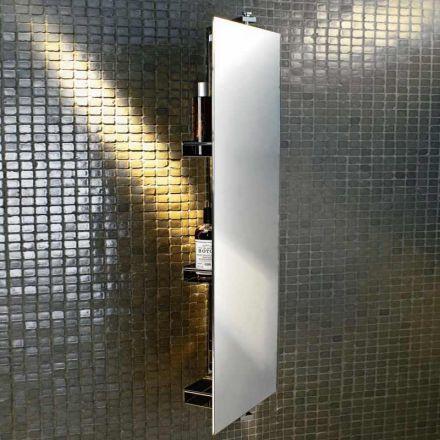 Miroir giratoire 360°, équipé de 3 étagères. Fixation murale et finition chromée.