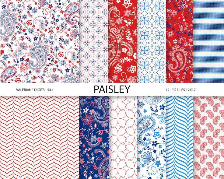 Paisley Digital paper pack in blue green and от ValerianeDigital