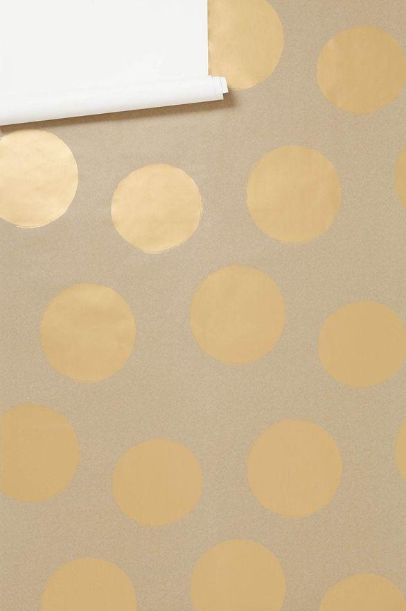 cutest gold polka-dot wallpaper. Maybe for a little girl's nursery?