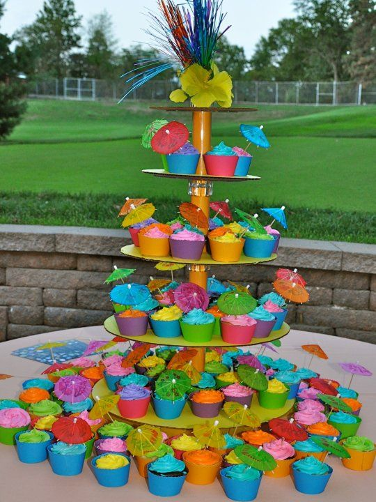 Cookies By Sandra: Luau Cupcake Tower