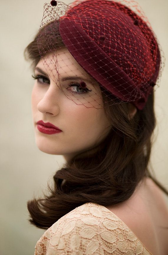 Damson Red Cocktail Hat Wool Felt Double Veil by MaggieMowbrayHats