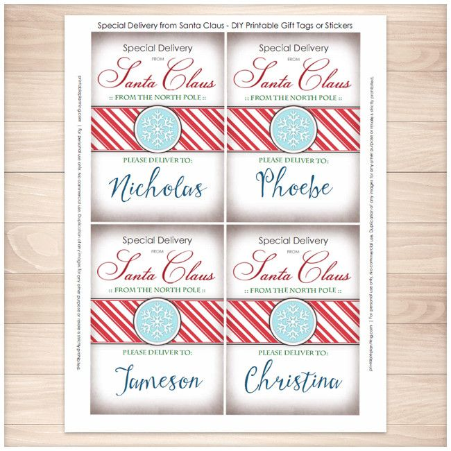 The 25 best from santa gift tags ideas on pinterest santa gift special delivery from santa claus personalized gift tags or stickers printable negle Choice Image