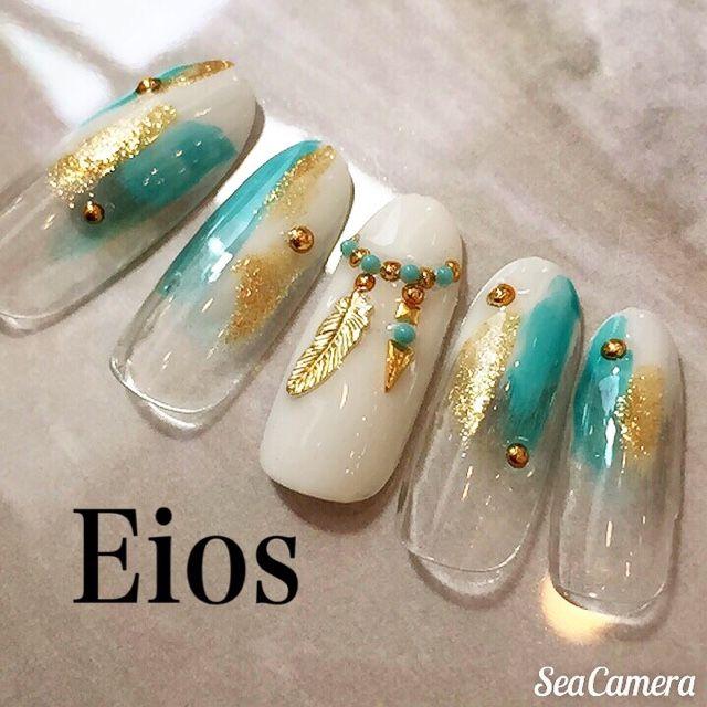 ネイル 画像 Eios nail 小山 1076756 ホワイト エスニック 夏 ソフトジェル ハンド ミディアム