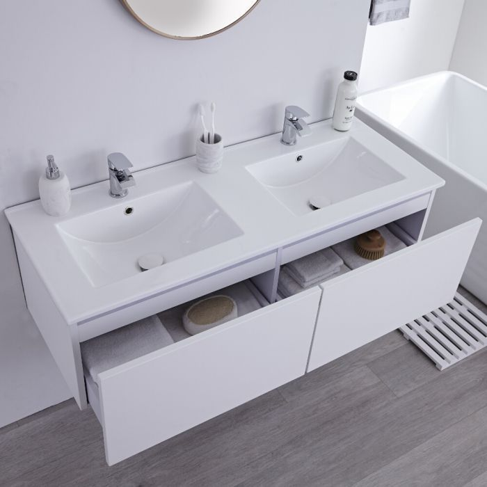 Milano Oxley White 1200mm Wall Hung Vanity Unit With Double Basins Vanity Units Big Bathrooms Wall Hung Vanity