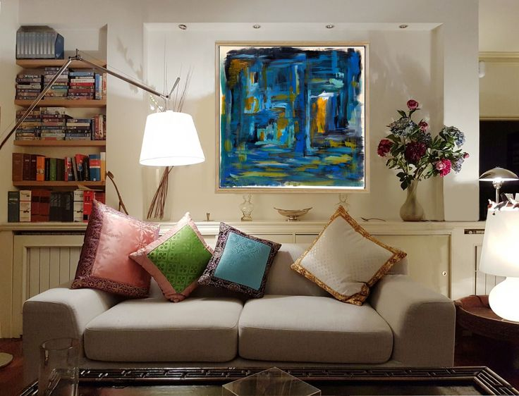 """Notturno ore 23 - Azure, blue, green, yellow    Stampa artistica fine art Giclée da pittura moderna (originale di D.S. StudioS129)  isponibile fino al formato massimo 40x40"""" (scegliere i formati in alto a destra)    Giclée fine art print - limited edition - Original unique, hand-painted and digitized - cards or special quality canvas - professionally executed large prints Epson printers to special inks suitable for museum conservation. Each print is numbered and signed by the authors of…"""