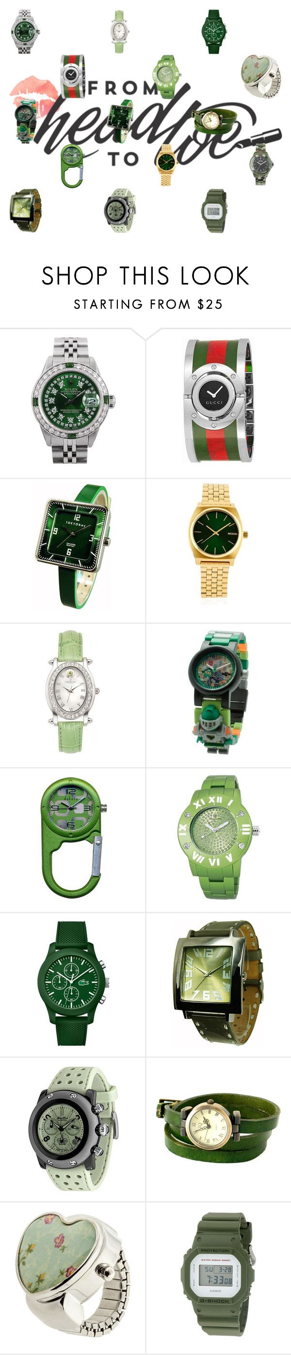 """""""Bestie #17"""" by quinn-avina ❤ liked on Polyvore featuring Rolex, Gucci, TOKYObay, Nixon, Croton, Lego, Lacoste, Glam Rock, Decree and G-Shock"""