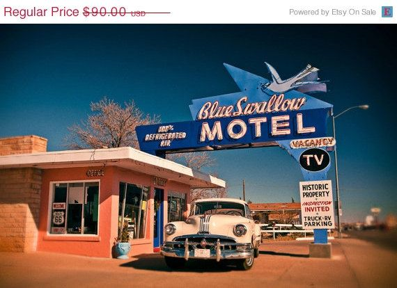 Blue Swallow Motel Vintage Neon Sign - Route 66 - Tucumcari New Mexico - Road Trip Inspired - Classic Car - 16X24 Fine Art Photograph