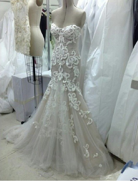 Steven khalil fit and flare wedding dress with no straps sweetheart