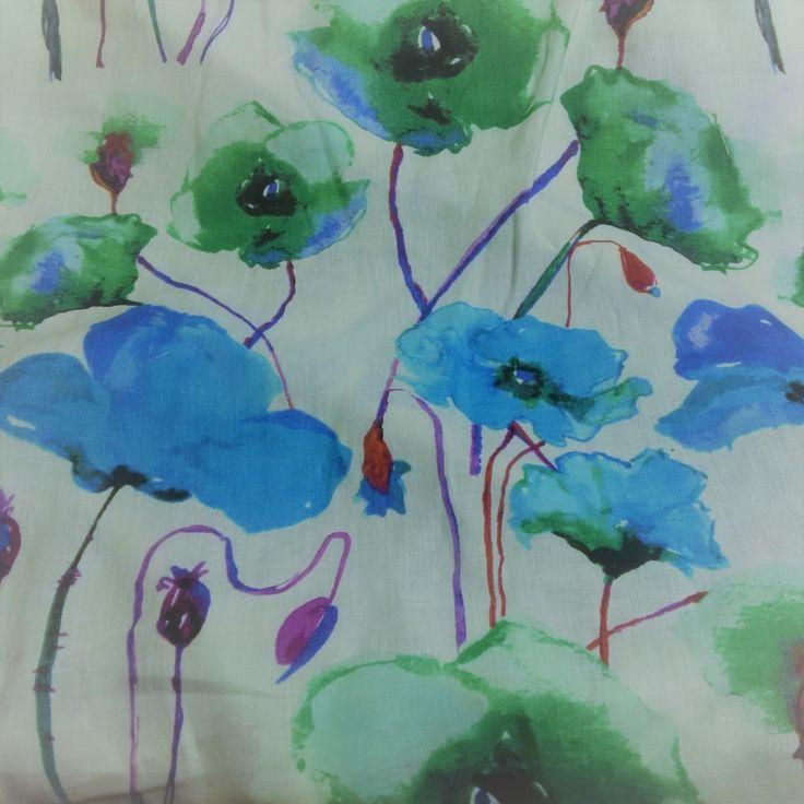 Woven Linen Print - Blue Poppies - Distinctive Sewing Supplies