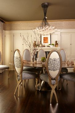 "Dining Photos Design Houzz.com|Christopher Guy dining chair custom upholstery;CoupD'Elat ""populated chandelier"""