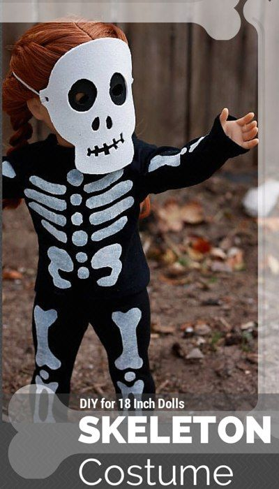 Make your American Girl doll a Halloween Skeleton Costume.  Free pattern and tutorial. Fun and easy!
