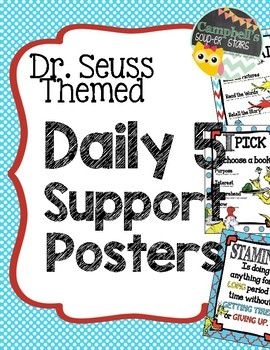 Dr Seuss Theme {Daily 5 support Posters} Full color, 8.5x11 posters. Perfect for your Dr. Seuss themed classroom or any classroom that utilizes the Daily 5.