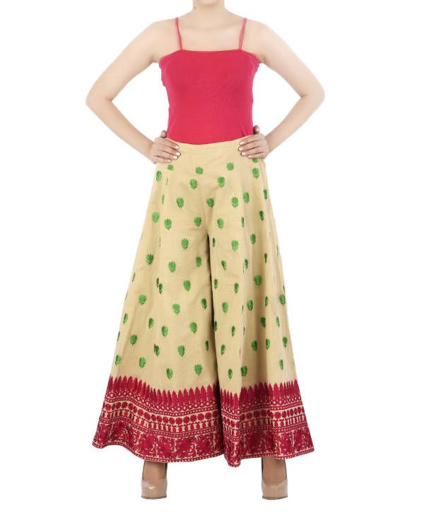 Silk thread embroidered cotton palazzo pants  |  Shop now: www.thesecretlabel.com