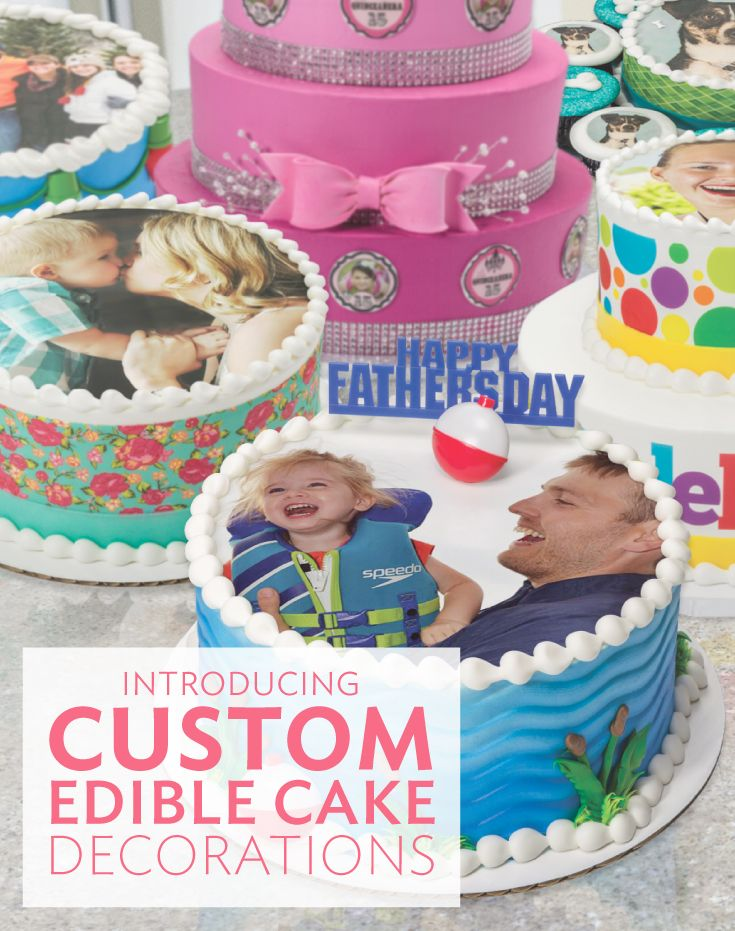 Create personalized cakes and cupcakes with edible printed photos. So many ideas for this!