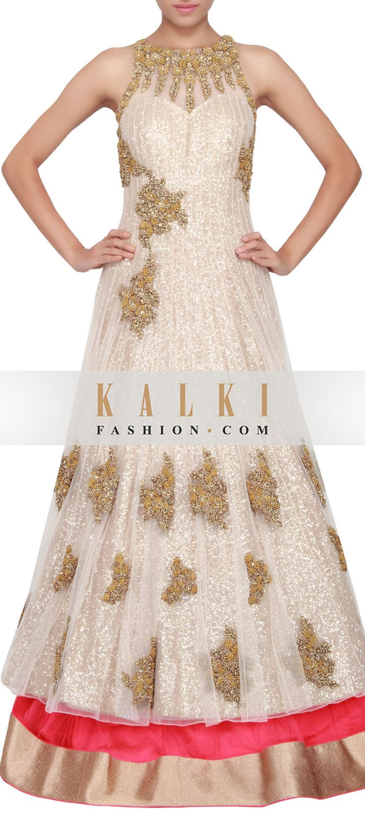 Buy Online from the link below. We ship worldwide (Free Shipping over US$100) http://www.kalkifashion.com/pink-and-cream-net-jacket-lehenga-in-net-embellished-in-french-knot-only-on-kalki.html