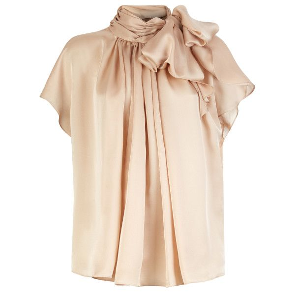 Silk Bow Blouse ($570) ❤ liked on Polyvore featuring tops, blouses, silk top, pink silk blouse, flounce tops, pink ruffle blouse and ruffle top