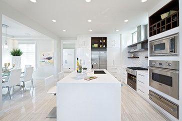 White gloss kitchen, light wooden floors