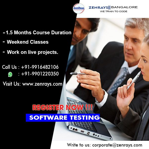 Software Testing Training in Bangalore offered by ZenRays Technologies. 100% job Support, Hands-On Training, Work On Live Project, Training By Experts, Best Training in Bangalore. Write to trainings@zenrays.com, Call +91 9916482106 or WhatsApp +91 9901220350 for more information. http://zenrays.com/testing-courses