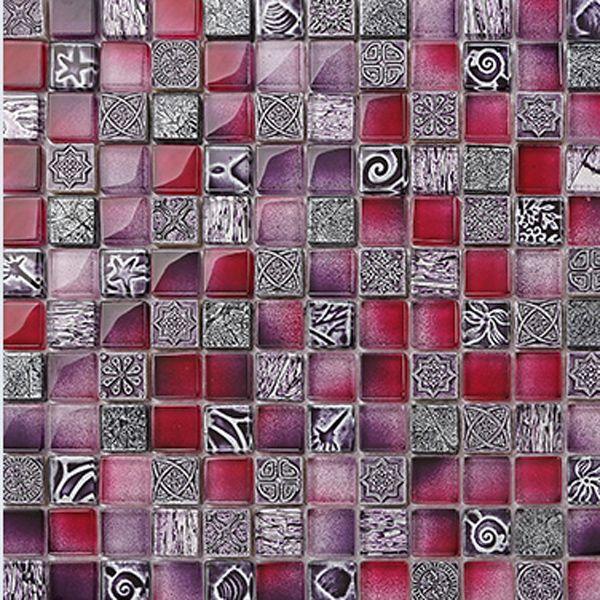 Стеклянная плитка сразу фиолетовые мозаика кухня плитка современная ванная комната плитка узоры купить на AliExpress