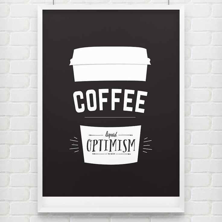 'liquid optimism' coffee poster print by doodlelove | notonthehighstreet.com Where there's coffee there's hope! # typography #coffee