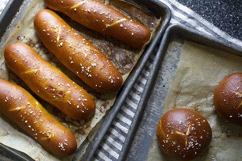pretzel hot dog and hamburger buns