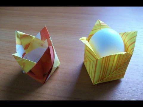 Как Сделать Поделки Своими Руками Из Бумаги К Пасхе. Коробочка Тюльпан Подставка Для Пасхальных яиц - YouTube