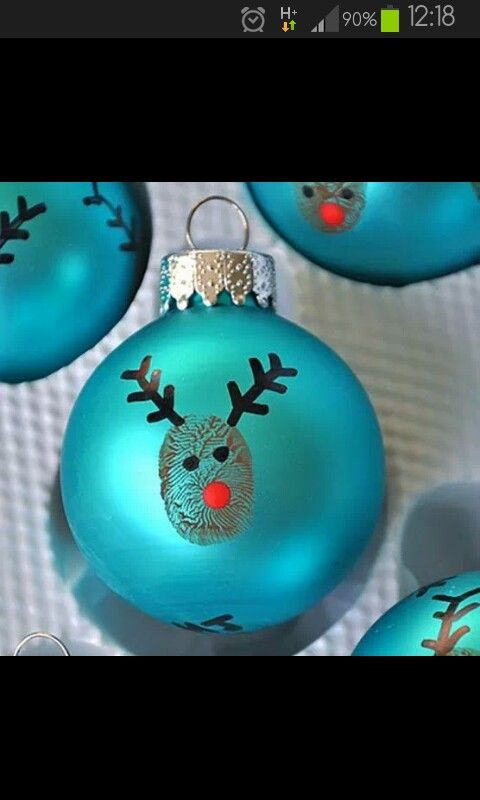 Cute idea for easy Christmas craft!: Ideas, Christmas Crafts, Gift, Thumb Prints, Fingerprints, Kids, Christmas Ornaments, Thumbprint Ornaments, Reindeer Ornaments