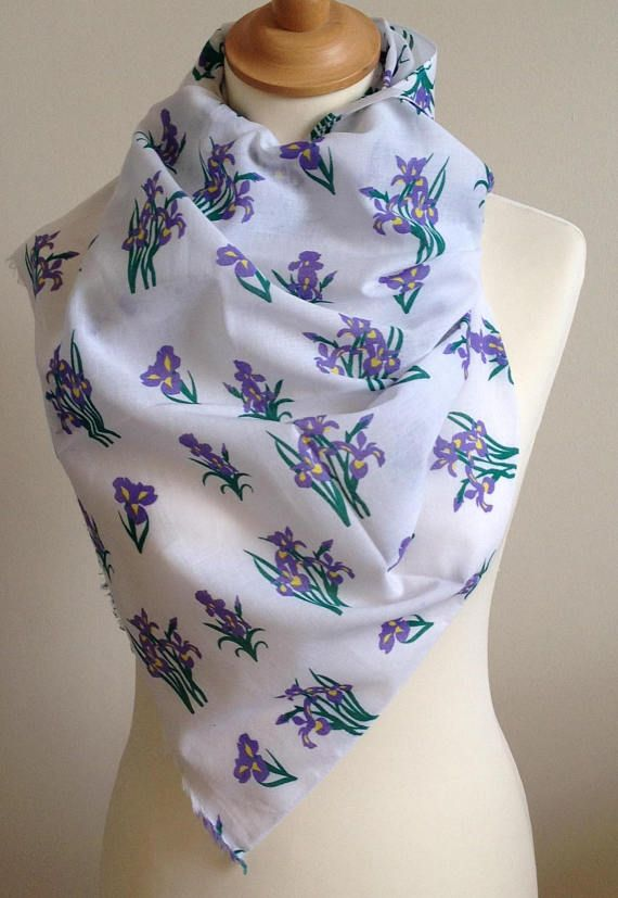 Iris scarf  blue iris floral print scarf  blue floral scarf