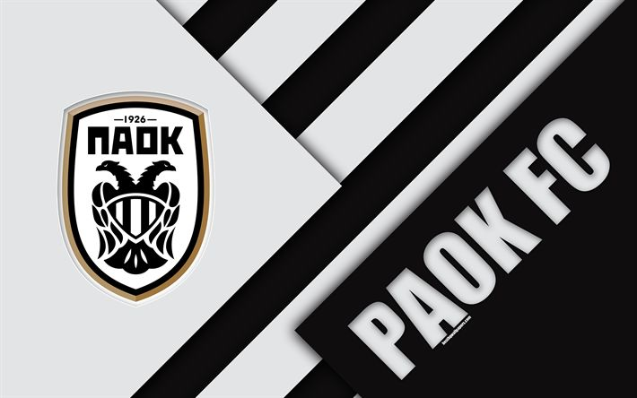 Download wallpapers PAOK FC, 4k, black and white abstraction, PAOK logo, material design, Greek football club, Super League, Thessaloniki, Greece, Superleague Greece