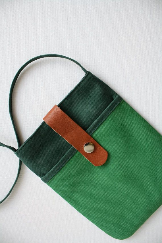 ::: small shoulder sling bag - alpine + moss  Exterior: cotton duck canvas + leather + 48.5 strap + nickel plate snaps Interior: black cotton + cotton duck canvas  One exterior pocket : 6 inches x 6.5 inches Size: Height: 8 inches Width: 6.5 inches  * https://www.etsy.com/shop/Christinas
