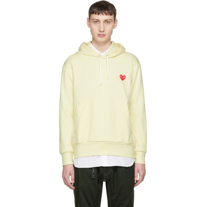 Comme Des Garcons Play Comme Des Garcons Play Off White Heart Patch Hoodie In Ivory Modesens Play Clothing Comme Des Garcons Play Hoodies