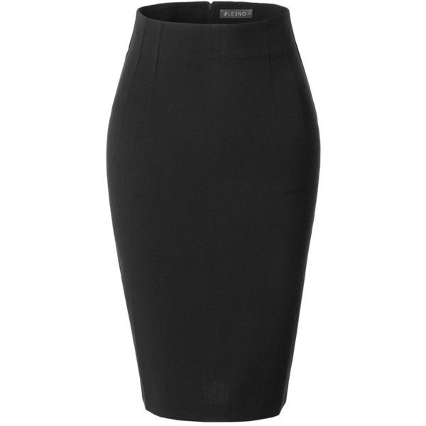 LE3NO Womens Fitted High Waisted Pencil Office Midi Skirt with Stretch ($19) ❤ liked on Polyvore featuring skirts, high waist knee length pencil skirt, zip back pencil skirt, midi skirt, mid calf pencil skirt and high waisted skirts
