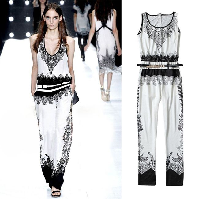 2013 Trendy Summer Color Contrast Women's Vintage Luxurious Ethnic Totem Floral Pattern Sleeveless Jumpsuits Romper Playsuits $36.99