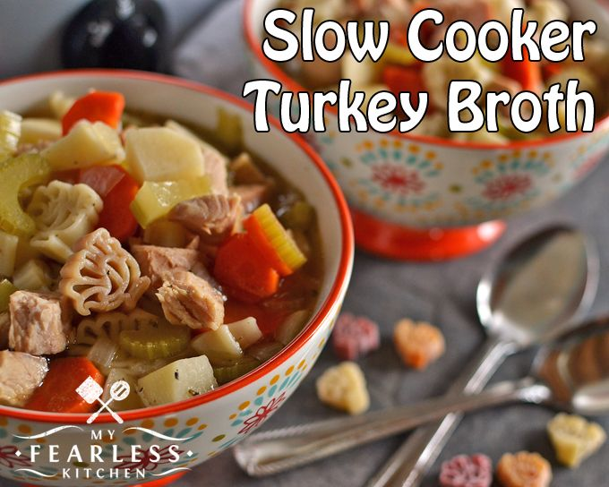 Slow Cooker Turkey Broth from My Fearless Kitchen. Don't let a bit of your hard work on that turkey go to waste! Toss the leftovers in a slow cooker and make Slow Cooker Turkey Broth while you're sleeping.