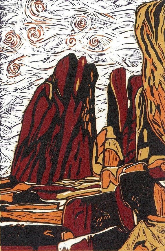 LINOCUT PRINT - Standing Rocks
