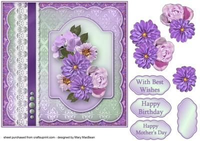 Lilac Flowers, Lace and Pearls