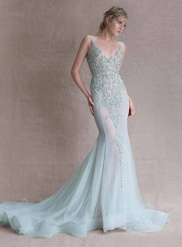 Pale blue Paolo Sebastia Exquisite wedding dress www.finditforweddings.com Haute Couture