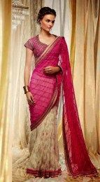 Opulent Pink Color Designer Embroidered Sari