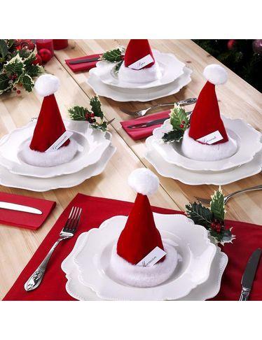 Tischdekoration mit befüllbaren Weihnachtsmützen #tischdekorationweihnachten T…