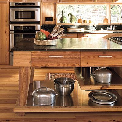 Open Island Smart Storage Solutions Wood Kitchen