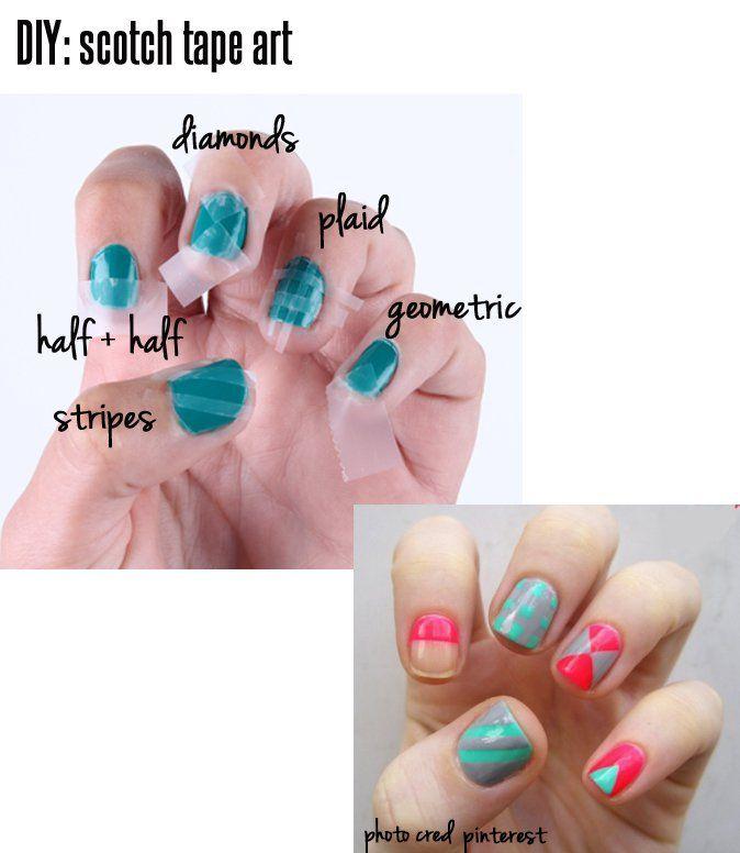 Source : www.fashiondivadesign.com/15-diy-nail-tutorials-with-scotch-tape