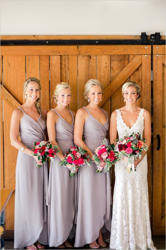 Elegant light grey long bridesmaid dresses.