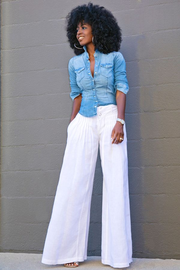Fitted Denim Shirt + Wide Leg Pants