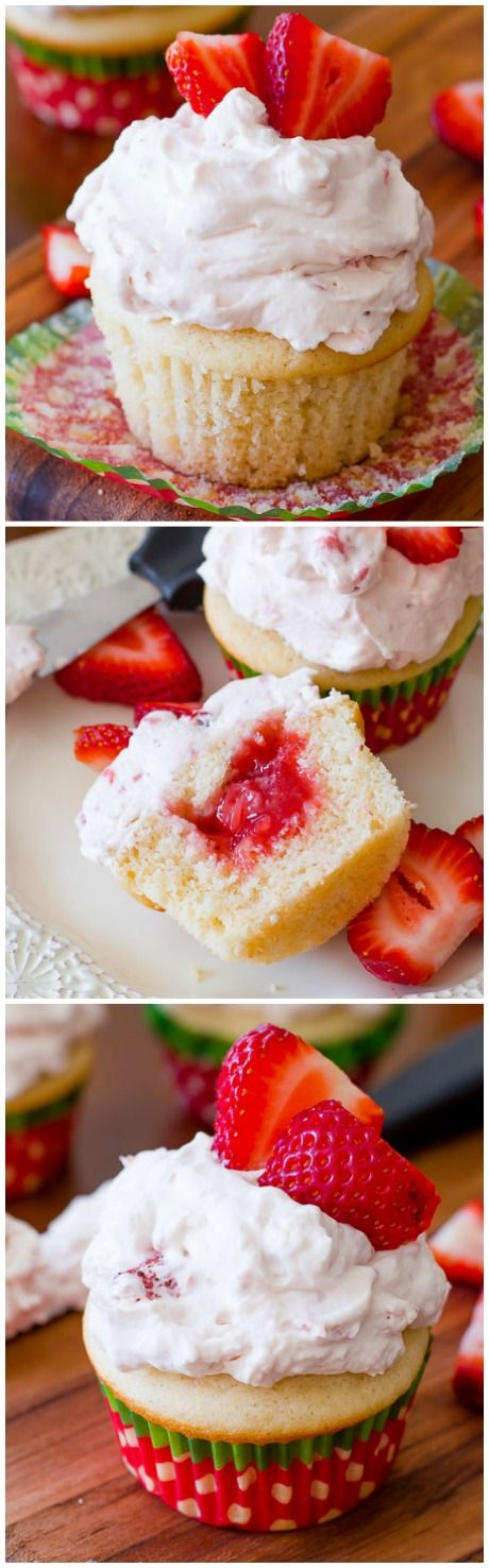 Vanilla bean cupcakes filled with homemade strawberry filling and topped with strawberry whipped cream! These are DELICIOUS! Recipe by sallysbakingaddiction.com