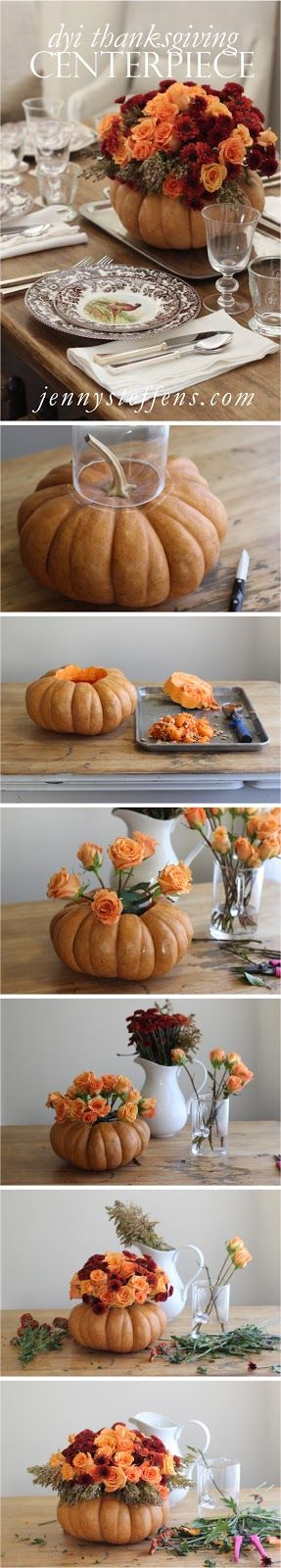 DIY Step-by-Step Rose & Mum Centerpiece in a Pumpkin for Thanksgiving    Thanksgiving Table Setting & Centerpiece      http://jennysteffens.blogspot.com/2012/11/diy-thanksgiving-centerpiece-roses-mums.html: