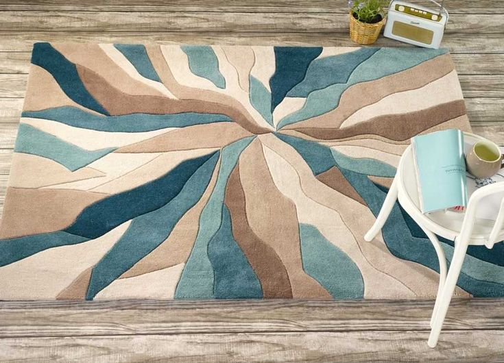 Splinter Teal Blue Rugs | Modern Rugs