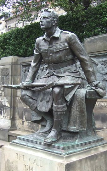 The Call, the Scottish-American War Memorial at Princes Street Gardens in Edinburgh