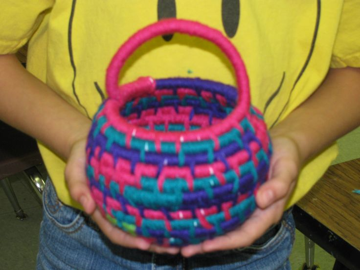 Basket Weaving For Elementary Students : Th grade coiled yarn basket weaving approx quot tall