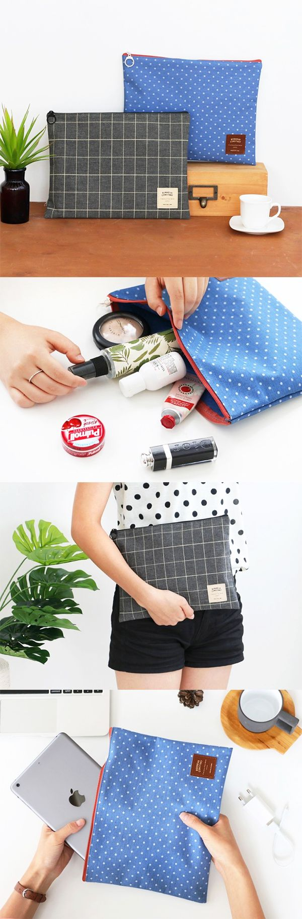 Introducing my versatile pouch. It is my cosmetic pouch, my travel pouch, my book & pencil pouch and my clutch with daily essentials!