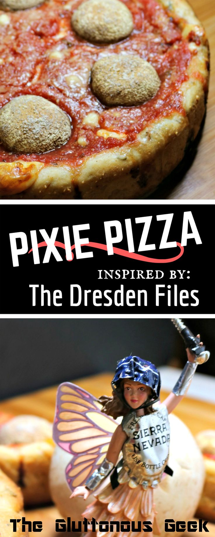 This Chicago-style deep dish pizza chock full of mushrooms and fresh thyme is inspired by everyone's favorite pixie from The Dresden Files.